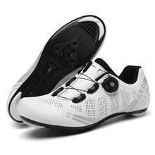 Sapatos de ciclismo de estrada tênis branco profissional mountain bike respirável corrida de bicicleta auto-bloqueio sapatos