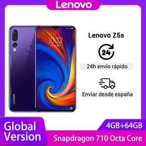 Глобальная версия смартфона Lenovo Z5s Snapdragon 710, четыре ядра, 4 Гб 64 ГБ, распознавание лица, 6,3 дюйма, камера 16,0 Мп, Android Cellphon
