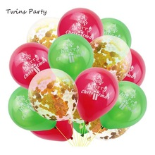 Twins Party 15pc Merry Christmas Latex Balloons Happy New Year Red Green Confetti Wedding Holiday Decoration