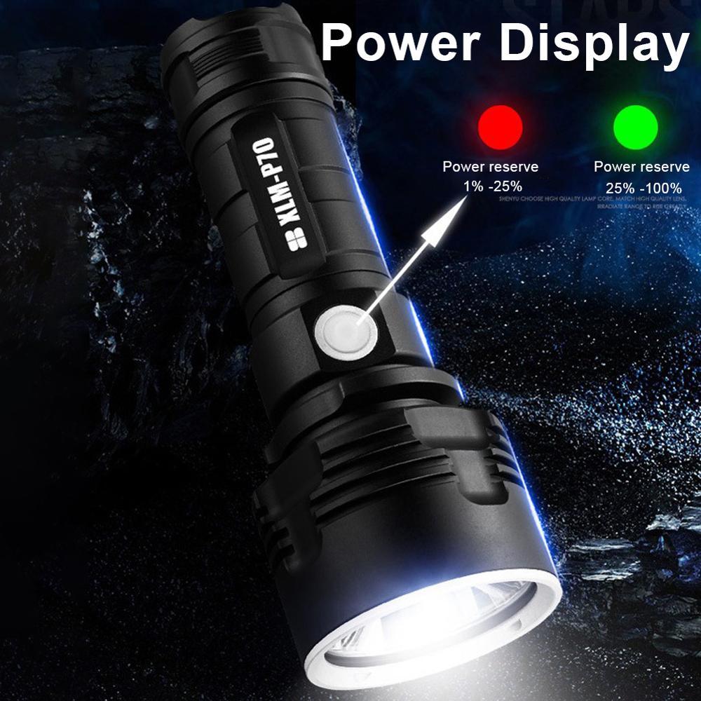 Супер мощный светодиодный фонарик USB аккумулятор водонепроницаемый лампа ультра яркий фонарь кемпинг