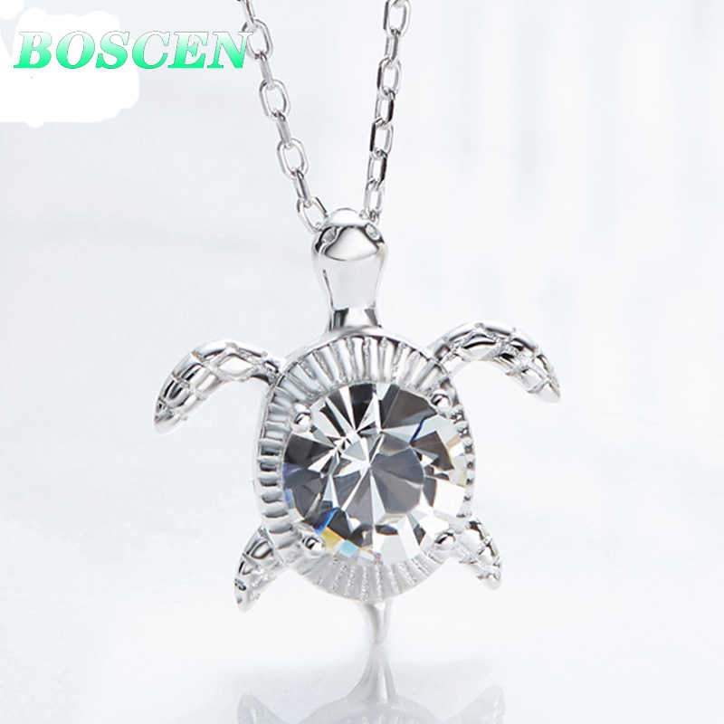 BOSCEN 925 Sterling Silver Pendant Necklace For Women Turtle Valentines Gift Embellished With Crystals From Swarovski 2019