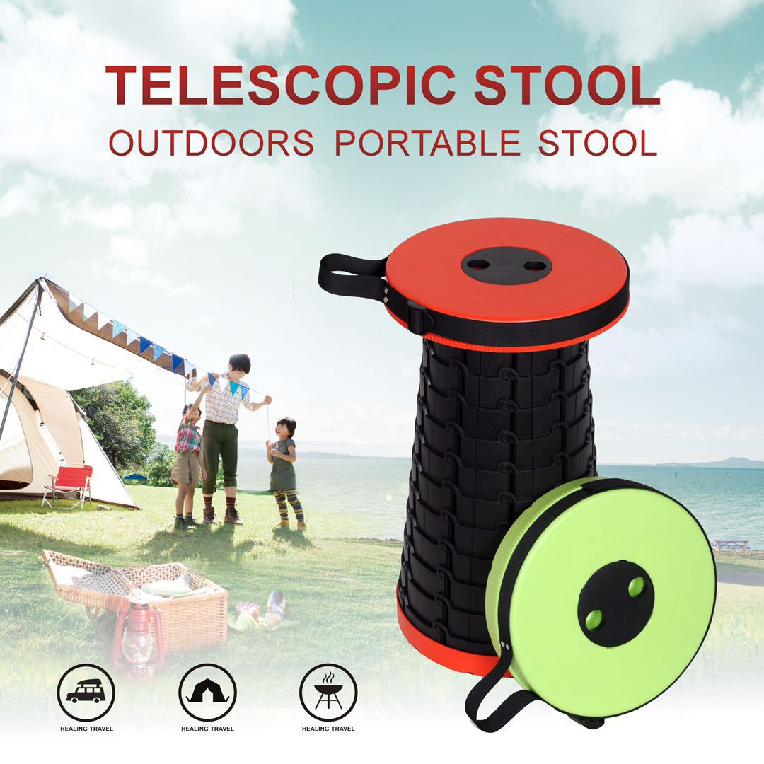 Outdoor Foldable Stool Portable Telescopic Plastic Travelling Fishing Camping Modern Simple Style 47*26CM High Quality Stools