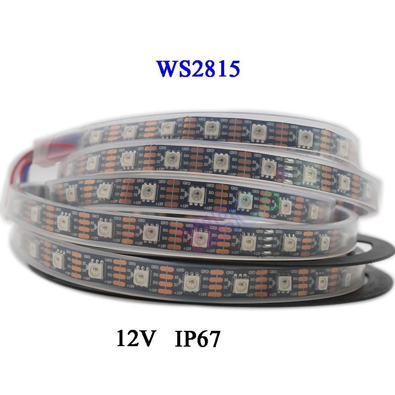 Image 3 - 5m/lot WS2815 pixel led strip light;DC12V 30/60 pixels/leds/m;IP30/IP65/IP67;Addressable Dual signal Smart led strip tape-in LED Strips from Lights & Lighting