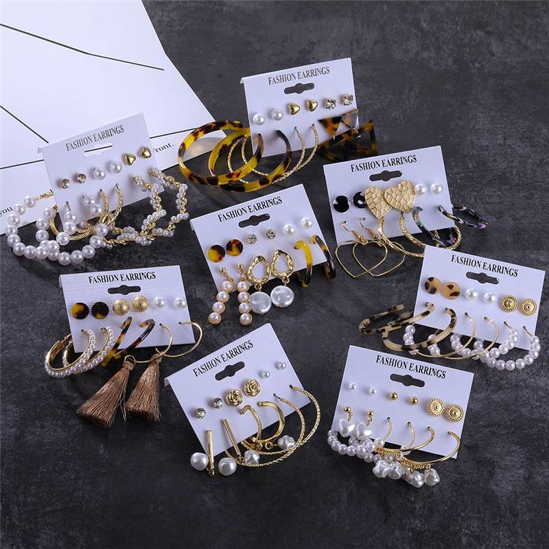 Leopard Tassel Acrylic Earrings For Women Bohemian Pearl Dangle Earrings Big Geometric Earrings Set 2019 Brincos Female Jewelry