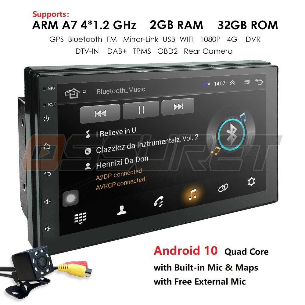 Hizpo 2 Din 7''quad Core Universele Android 10 2Gb Ram Auto Radio Stereo Gps Navigatie Wifi 1024*600 touch Screen 2din Auto Pc Mic