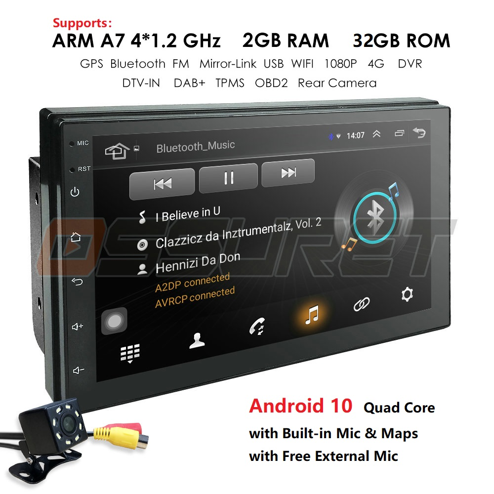Hizpo 2 Din 7''quad Core Universal Android 10 2GB RAM Car Radio Stereo GPS Navigation WiFi 1024*600 Touch Screen 2din Car PC Mic