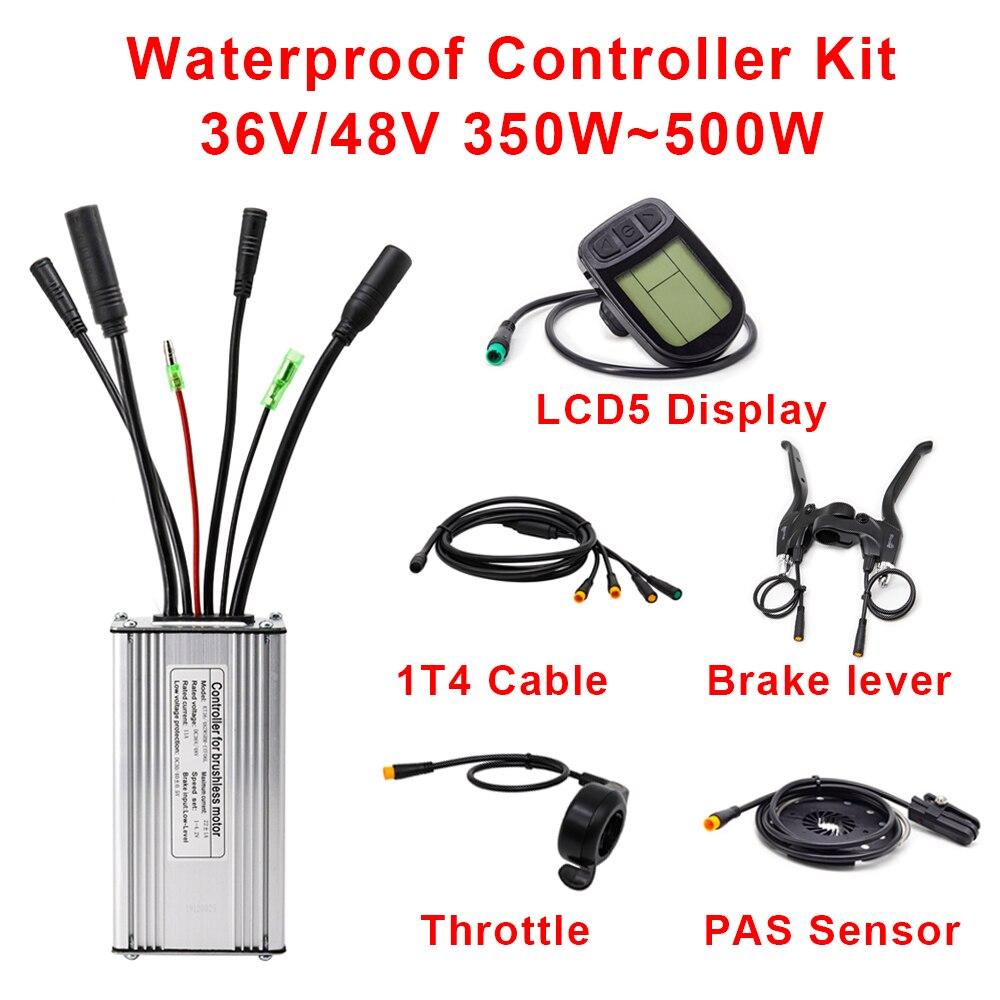 Ebike controlador 36v 48v 350w 500w e-bike controlador com freio do acelerador pas sensor display lcd ebike kit de conversão à prova dwaterproof água