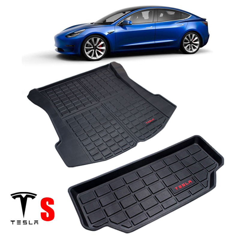TPE Material All-Weather Car Trunk Floor Mat Cargo Liner Rear Cargo Tray Black Protector For Tesla Model S 2013-2019