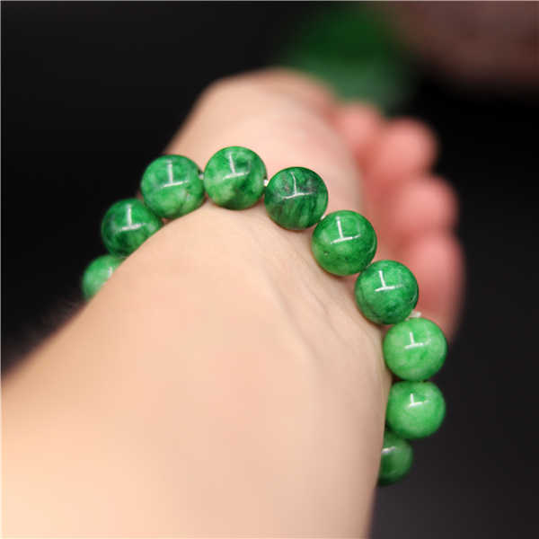 ธรรมชาติสีเขียวหยกสร้อยข้อมือกำไลข้อมือ Charm Jadeite เครื่องประดับอุปกรณ์เสริมแฟชั่นแกะสลักของขวัญ Amulet สำหรับผู้หญิงผู้ชาย