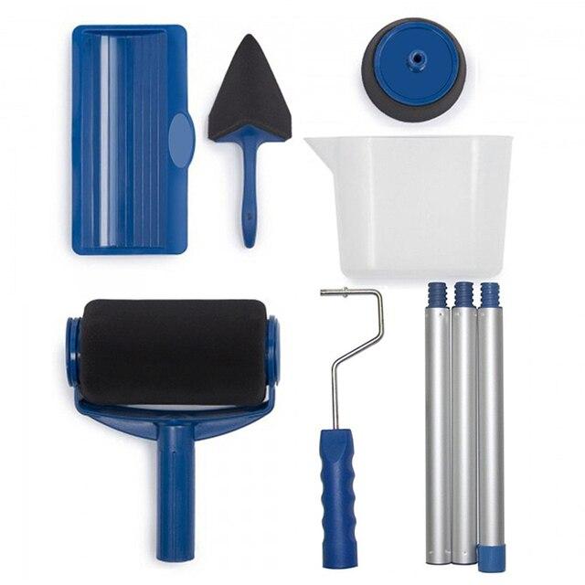 8pcs Paint Runner Roller Brush Handle Tool Flocked Edger Office Room Wall Painting Home Tool Roller Paint Brush Set Dropship