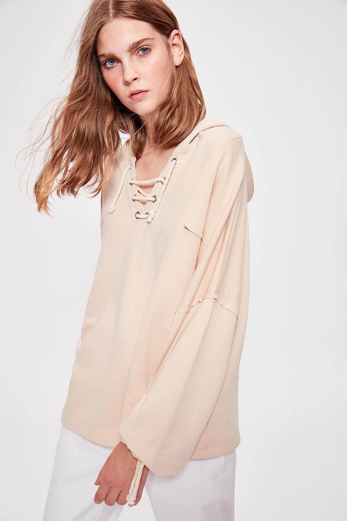 Trendyol Camel Lacing Detailed Boyfriend Knitted Sweatshirt TWOAW20SW0176