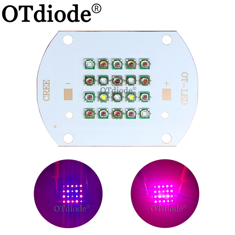 Customized 50W 60W Cree XP-E Plant Grow Multi-Chip LED Lamp Light XPE 660nm +Red Blue White UV IR Diode Bulb Mixed On Copper PCB