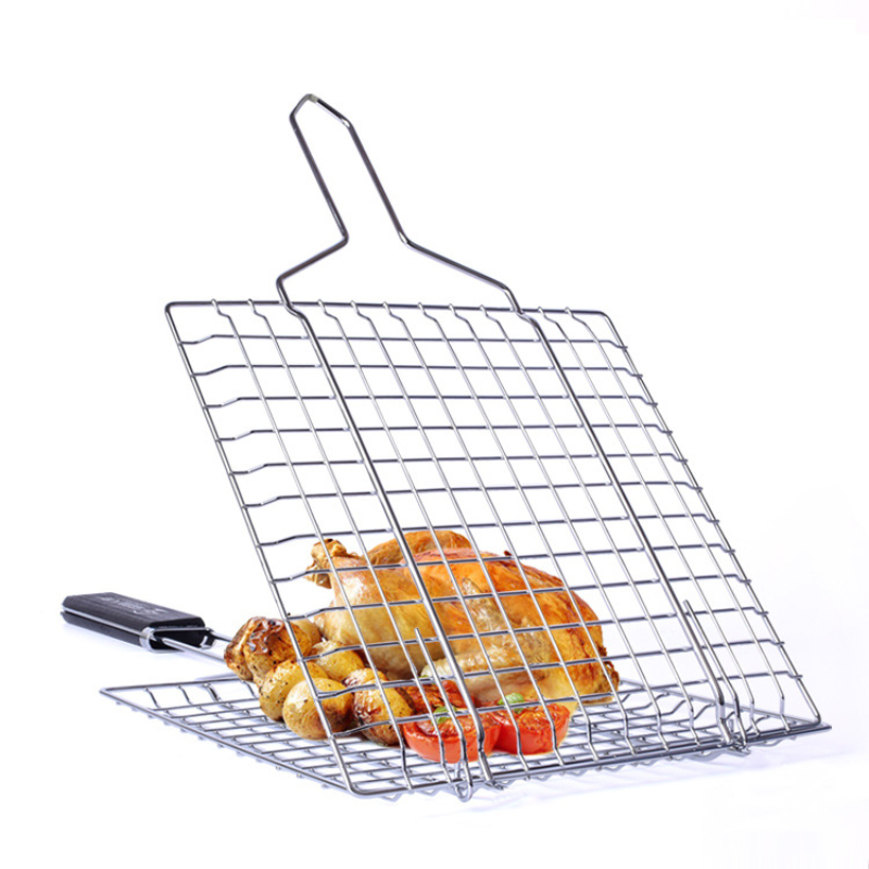 Stainless Steel Barbecue Net Grilled Fish Clip Plating Toast Clamp High Temperature Resistance Wooden Handle Thickened Bold N