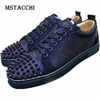 MStacchi 2020 Men Casual Shoes Spikes Lace-Up Comfortable Breathable Trend Male Board Shoes Jogging Walking All-Match Men Shoes