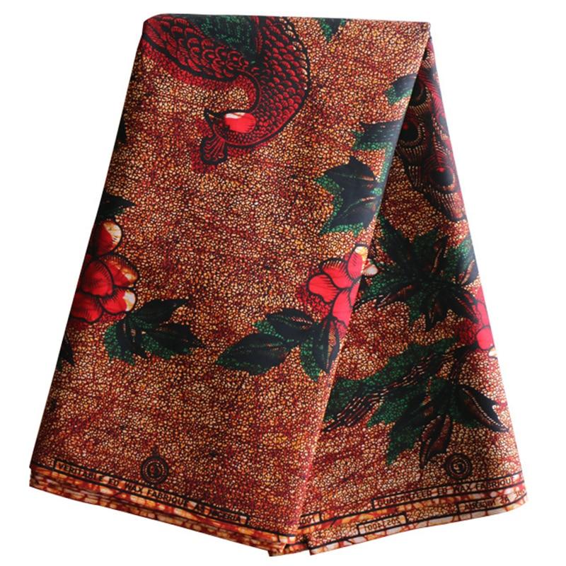 2019 New African Fabric Guarantee 100% Cotton Peacock Print Fabric African Real Dutch Wax 6yard Wax