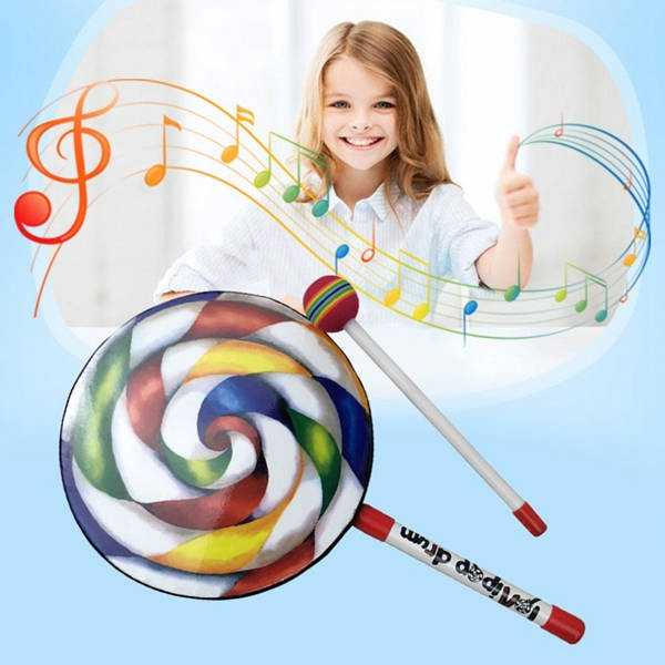 """7.9/"""" Lollipop Baby Hand Drum Musical Toys with Rainbow Color Mallet"""