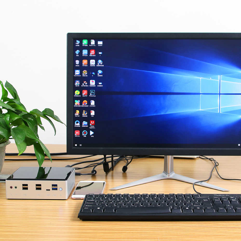 Mini pc intel core i7 10510u 2xddr4 ram, m.2 ssd nvme wi-fi bluetooth 4k uhd hdmi dp 8 * usb tipo-c 2 * gigabit ethernet windows 10