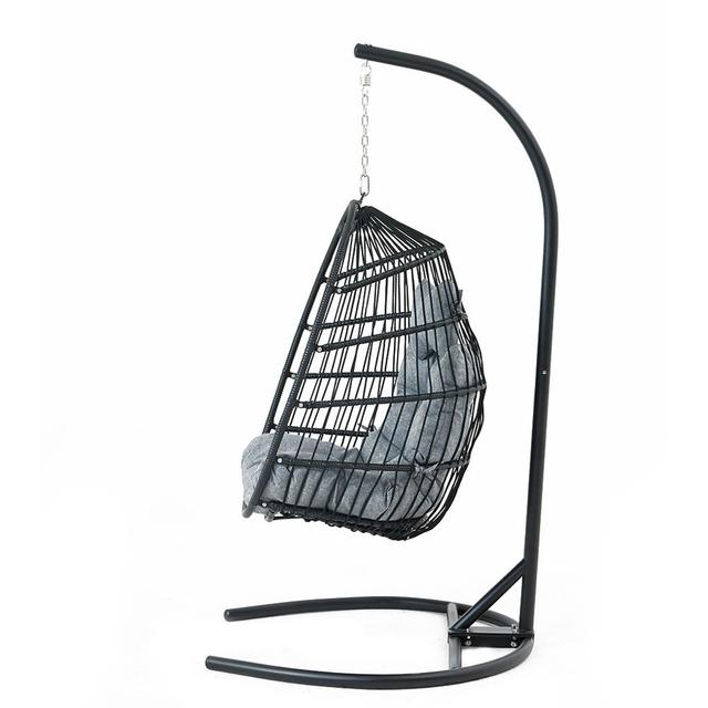 Hanging Egg Swing Chair Wicker Basket Seat with Cushion Steel Support Stand Frame for Home Patio Deck Garden Yard Backyard[US-W] 4