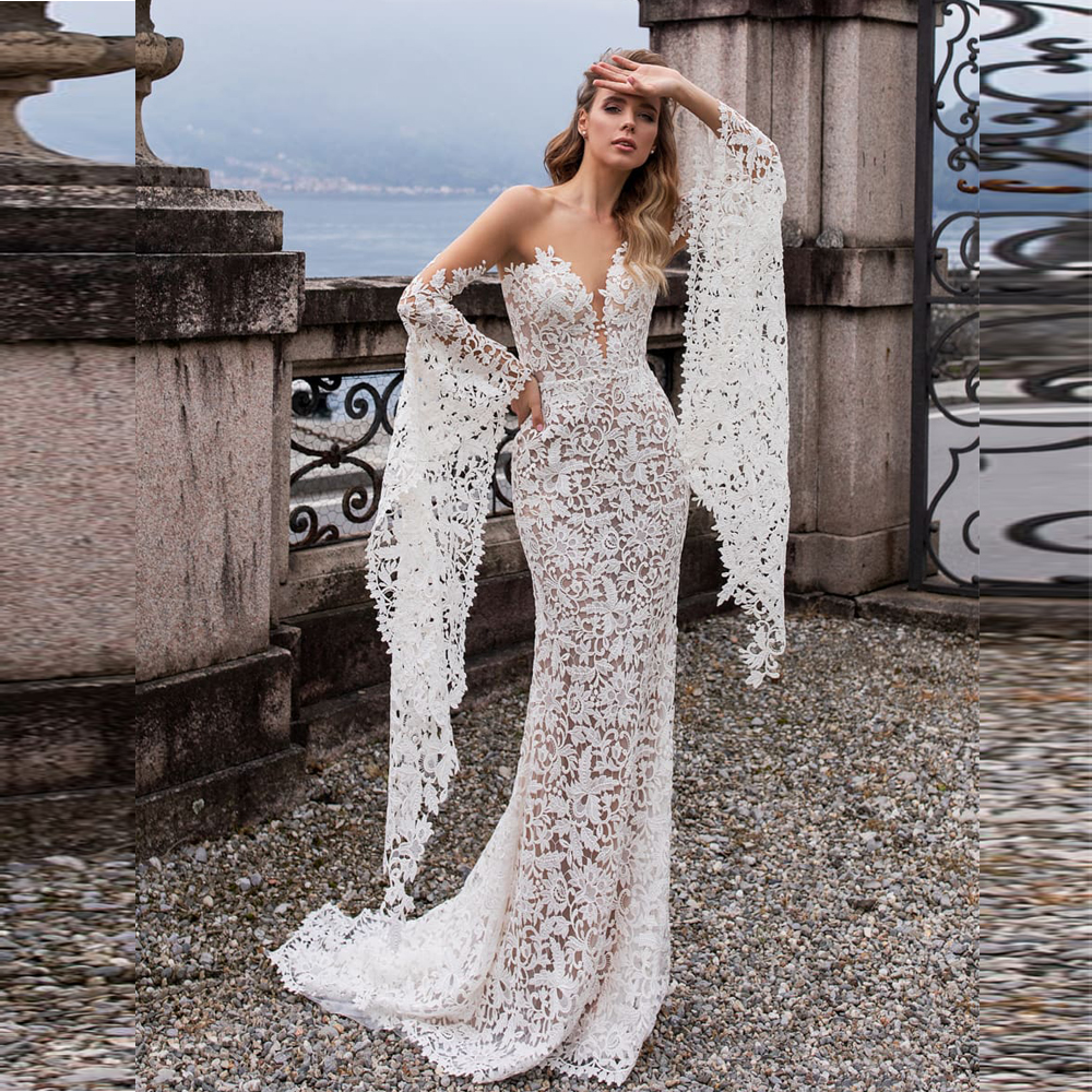 New Arrival Fashion Lace Mermaid Wedding Dresses With Flare Sleeves 2019 Backless Sweep Train Bride Dress Bridal Wedding Gowns
