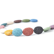 19X26/24X32mm Colorful Oval Lava Beads Shape Volcanic Rock Loose Spacer Beads Jewelry Earrings Necklace Making DIY