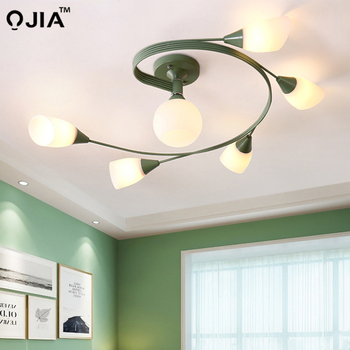 Modern Chandeliers For Living Room bedroom Lighting colorful iron lampshade frame Wooden Hanging Light Lampshade Kitchen Lights