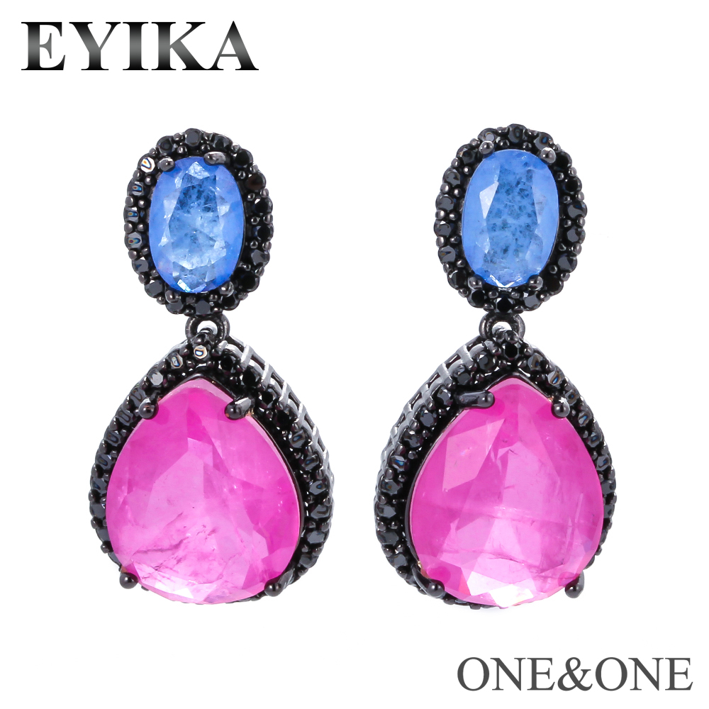 EYIKA New Fusion Crystal Stone Mixing Color Stud Earring Women Fashion Jewelry Charm Pear Shape Eardrop Серьги For Party/Gift