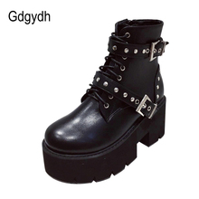 Boots Platform Gothic-Style Black Thick Buckles Gdgydh Women Ankle Rivets Round-Toe British