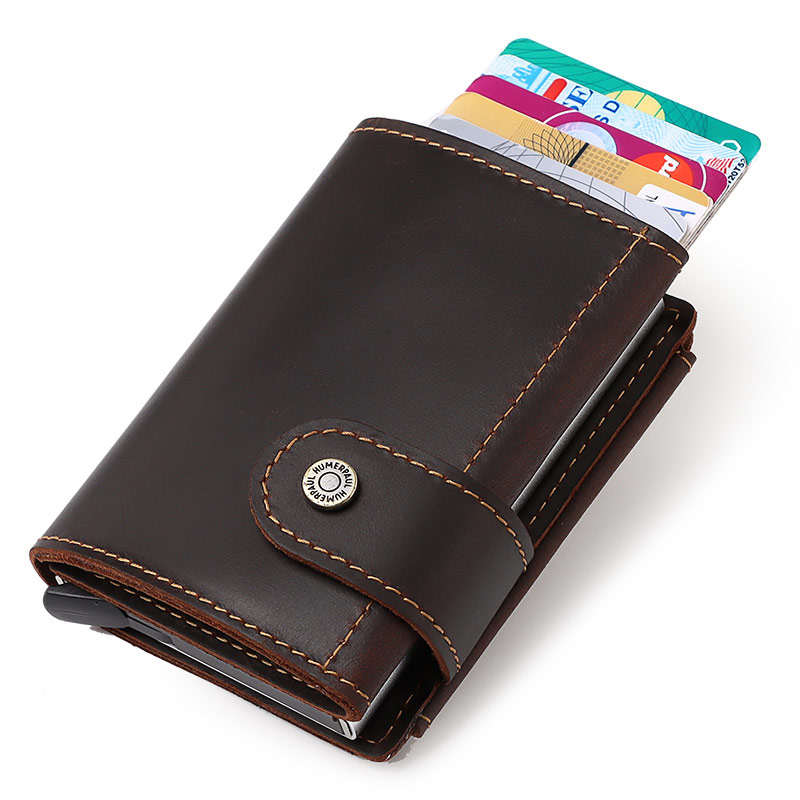Rfid Blocking Protection Men id Credit Card Holder Wallet Leather Metal Aluminum Business Bank Card Case Fashion Male Coin Purse
