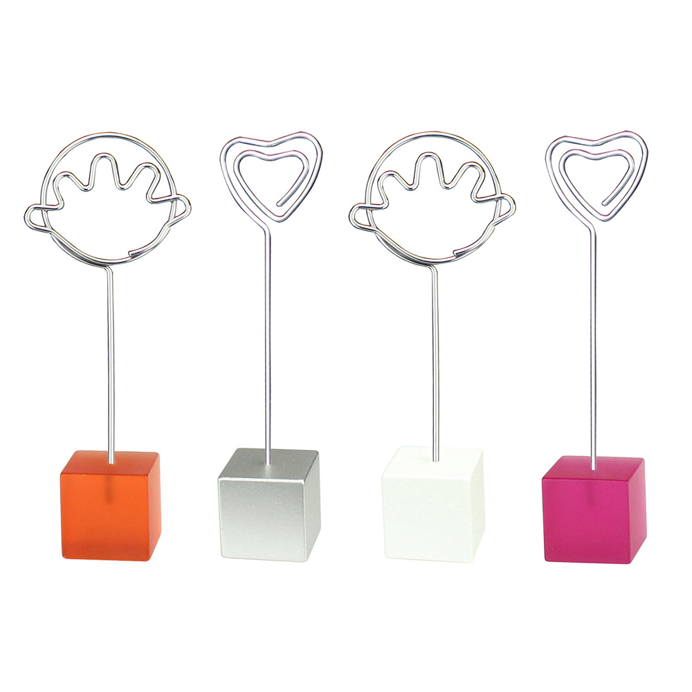 Lot 10pcs Cube Base Music Wire Photo Clip,Color Memo Holder,Note Card Clamp,Wedding Party Favor,Personalized Present