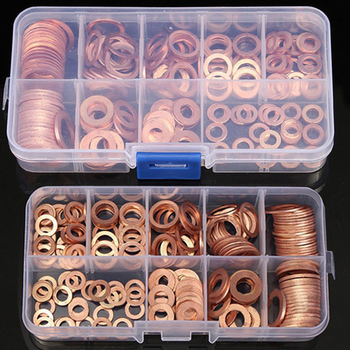 200Pcs Copper Washer Gasket Nut and Bolt Set Flat Ring Seal Assortment Kit M5/M6/M8/M10/M12/M14 for Sump Plugs Water