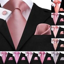 Hi-Tie шелк классический мужской свадебный коралловый розовый красный персиковый галстук карманные Квадратные Запонки Набор галстуки с розами для мужчин одноцветные Галстуки Пейсли