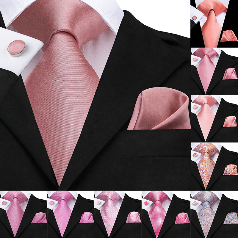 Hi-Tie 100% Silk Classic Men's Wedding Coral Pink Red Peach Tie Pocket Square Cufflinks Set Rose Ties For Men Solid Paisley Ties