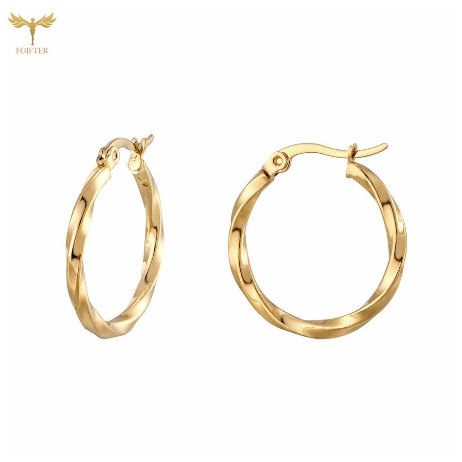 Golden Stainless Steel Geometric Circle Triangle Hoop Earrings Wave Round Hoops Luxurious Women Accessories Female Ear Jewelry