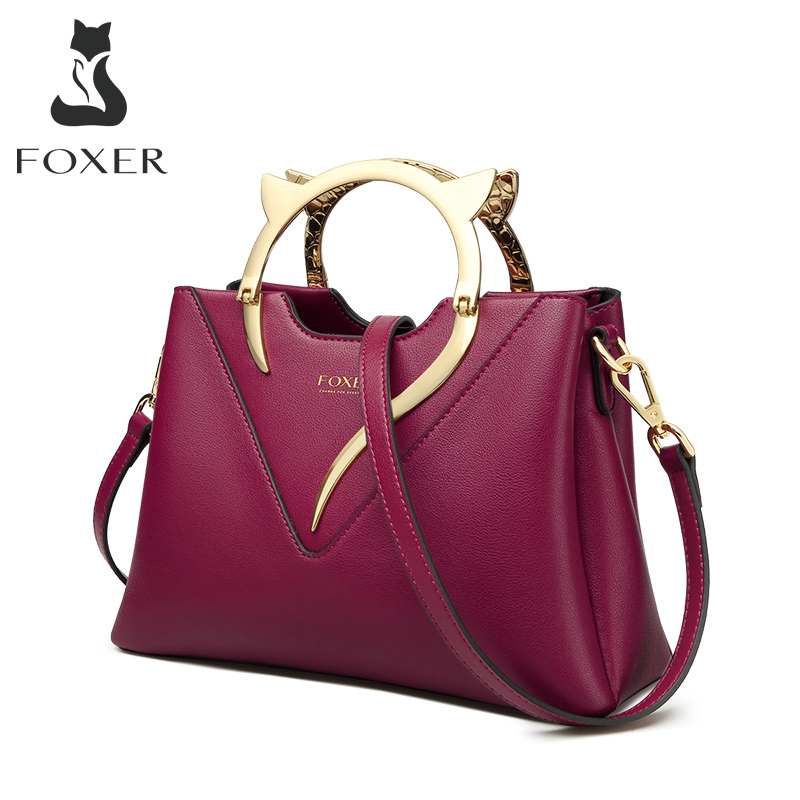 FOXER Lady Fall Winter Bag Women Cowhide Totes Luxury Large Capacity Female Purse Business Bag Commuter Style Lady Handbag
