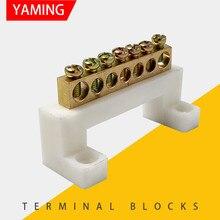 P129 ponte branca design zero linha 7 posição de cobre aterramento tira terminal bloco conector para gabinete distribuição