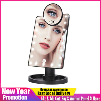 22 LED Lights Touch Screen Makeup Mirror 1X 10X Magnifying Vanity 16 Lights Bright Adjustable USB Or Batteries Use
