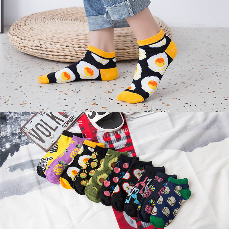 Socks For Women Omelette Burger Sushi Apple Plant Fruit Food Short Funny Cotton Socks Unisex Happy Socks Boat Socks Ankle Socks