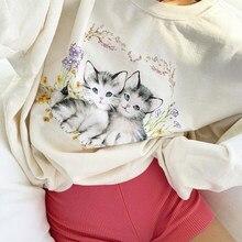 Yiciya Kat Print Leuke Witte Oversized Sweatshirt Herfst Leuke Lange Mouwen Zweet Overhemd Casual Losse Trui Dames Streetwear