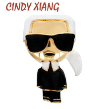 Brooch-Pins Jewelry Corsage Cindy Xiang Black Vintage White Women Enamel Brand Funny