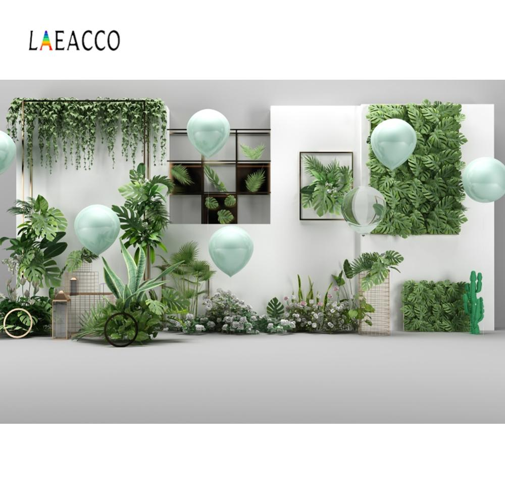 Laeacco Palm Leaves Balloons Interior Scene Backdrops Baby Shower Summer Holiday Photography Backgrounds For Photo Studio Vedio
