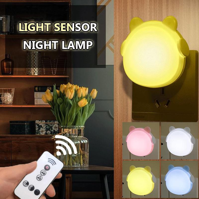 2020 LED Night Lamp Light Sensor Control Remote Control 110V/220V EU/US Plug Night Light For Children Livingroom Bedroom