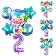6Pcs/lot Large Cartoon Mermaid 40Inch Number Balloon set Happy Birthday Party Gift Princess Helium Air Balloons