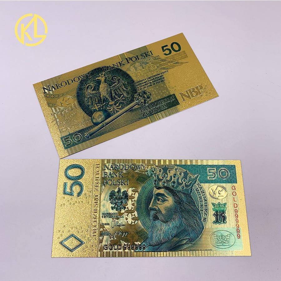 1 шт., копия цветных позолоченных банкнот в Польше