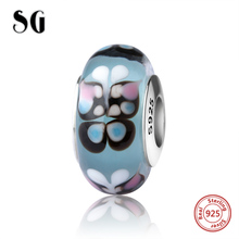 SG silver 925 sparkling Murano glass beads butterfly charms suitable for authentic pandora bracelets jewelry making women gifts