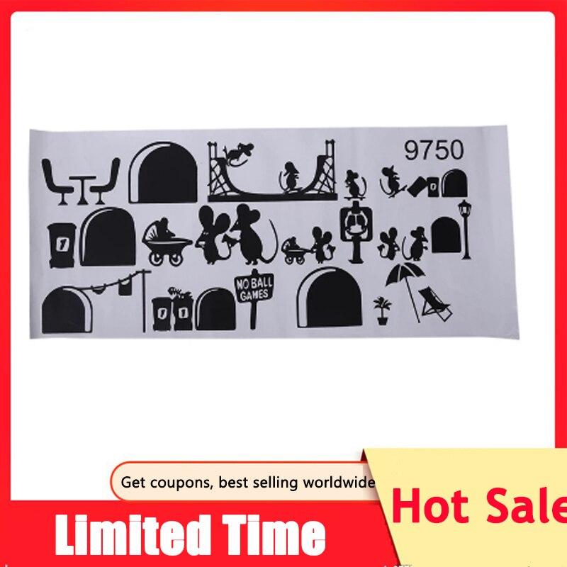 1 Pc noir souris escalier autocollants 25x55cm drôle Mouses avion dessin animé Stickers muraux enfants décor à la maison décalcomanies escaliers sol bâton