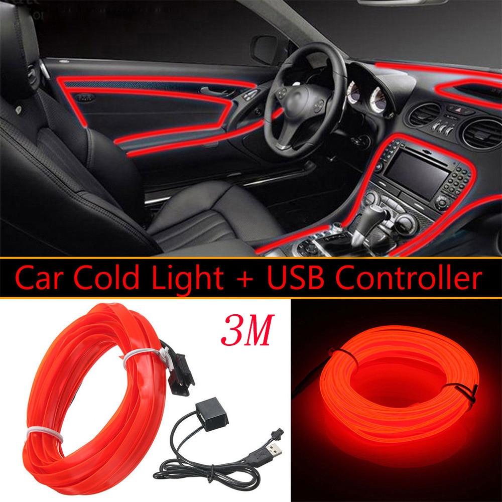 3 Meters 5V Red LED Light Glow Car Tube USB EL Wire Car Interior Trim Lightings