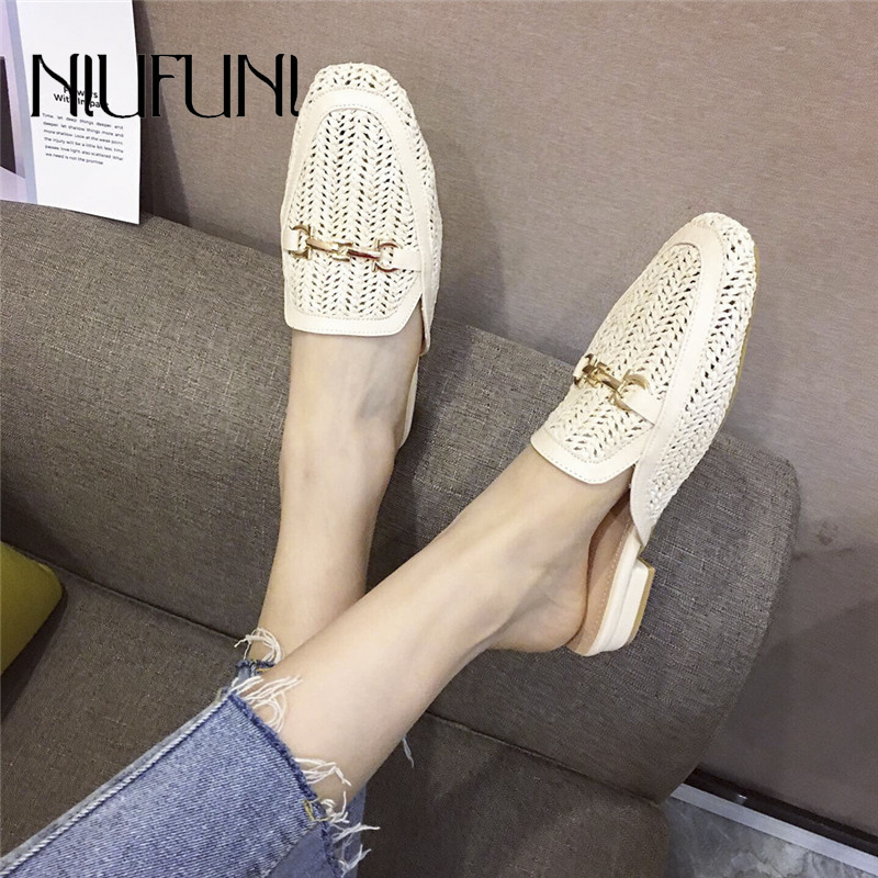 NIUFUNI Women's Rattan Slippers Solid Color Low Heel Casual Hollow Shoes Mules Women Slippers Flat Shoes Cane Metal Beach Shoes