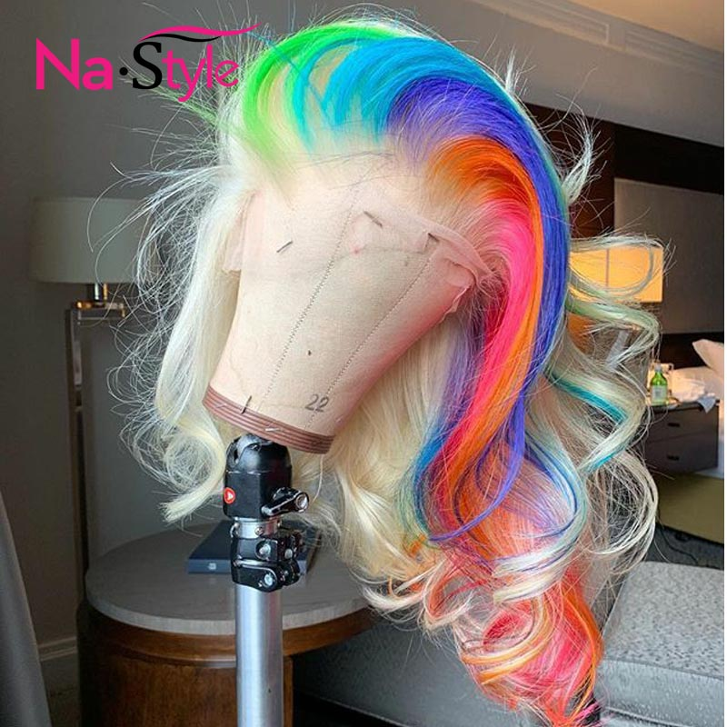 Colored Lace Front Wigs Human Hair Ombre Pink 613 Blonde Lace Front Human Hair Wigs Wavy Transparent Lace Wigs Remy Rainbow image