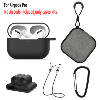 60pcs 5in1 protective silicone cases for airpods Pro case covers cover shell with Anti-lost buckle string +carrying bag