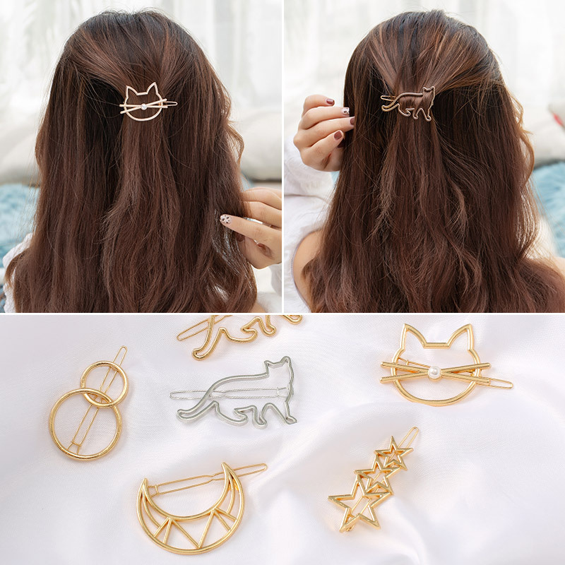 New Hair Clip For Women  Moon Cat Heart Hairpin Simple Golden Silver Barrette Hair Accessories Styling Tool Girls Fashion Gift